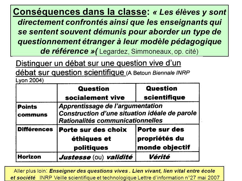 Conséquences dans la classe: « Les élèves y sont directement confrontés ainsi que les enseignants qui se sentent souvent démunis pour aborder un type de questionnement étranger à leur modèle pédagogique de référence »( Legardez, Simmoneaux, op. cité)
