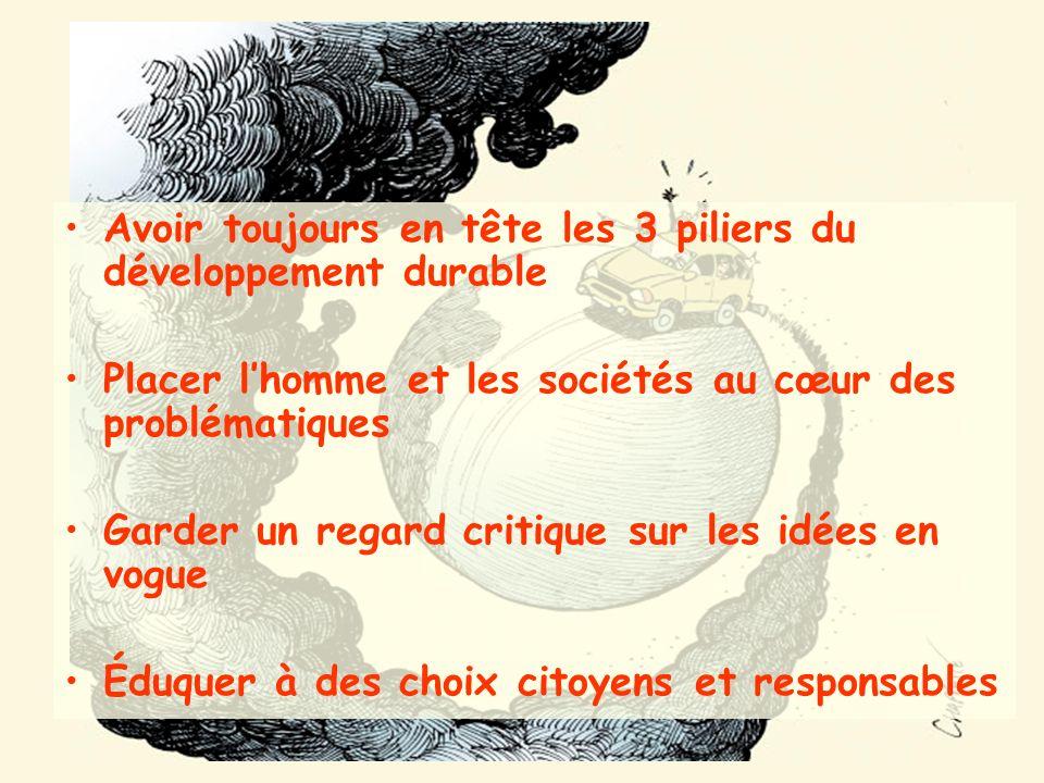 Avoir toujours en tête les 3 piliers du développement durable