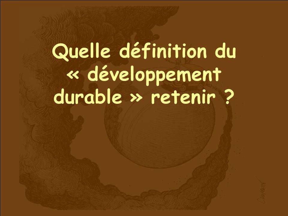 Quelle définition du « développement durable » retenir