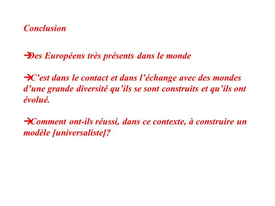 Conclusion Des Européens très présents dans le monde.