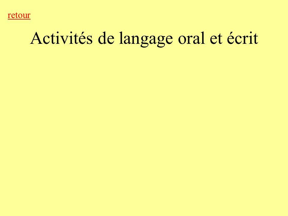 Activités de langage oral et écrit