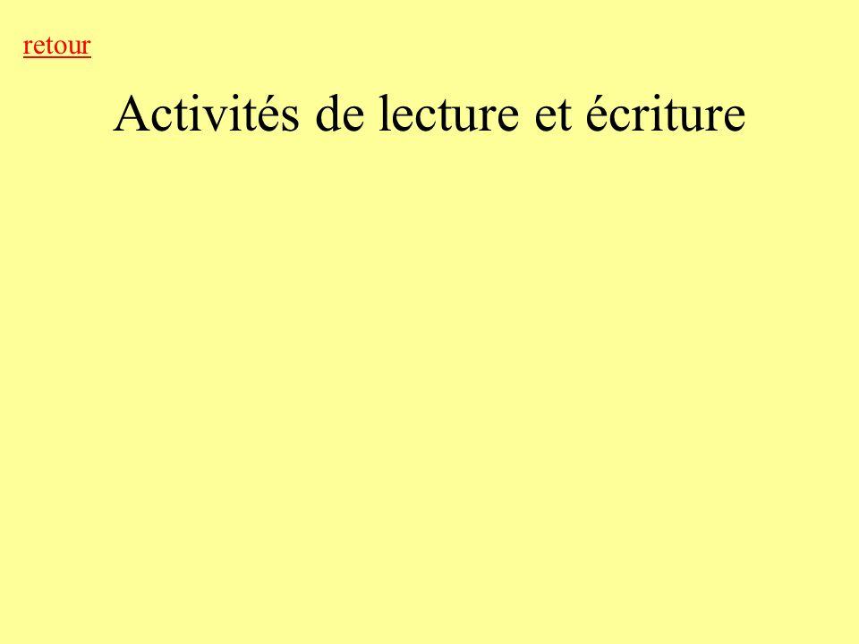 Activités de lecture et écriture