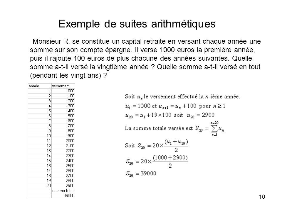 Exemple de suites arithmétiques