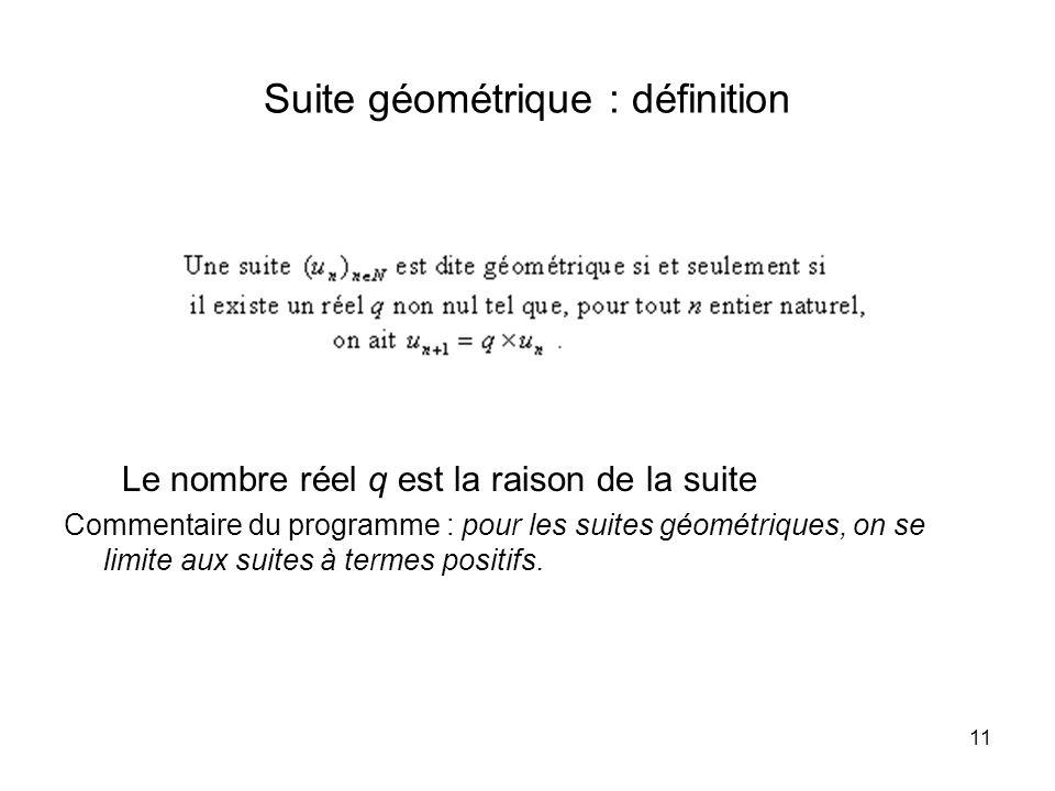 Suite géométrique : définition