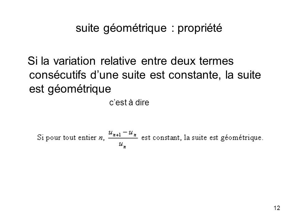 suite géométrique : propriété
