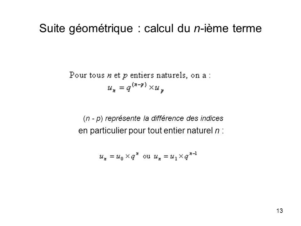 Suite géométrique : calcul du n-ième terme