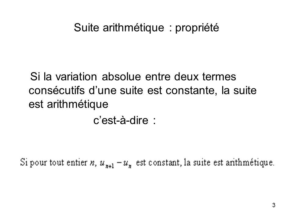 Suite arithmétique : propriété