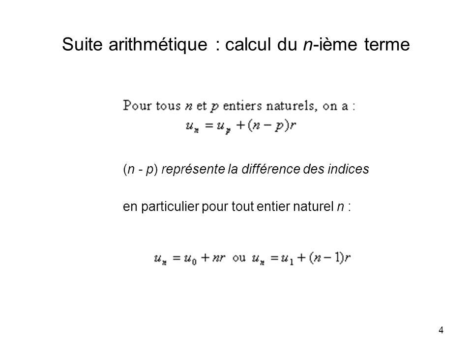 Suite arithmétique : calcul du n-ième terme