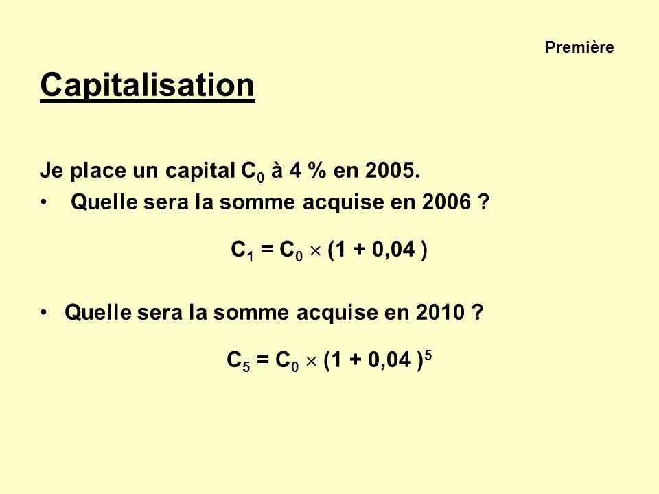 Première Capitalisation Je place un capital C0 à 4 % en 2005.