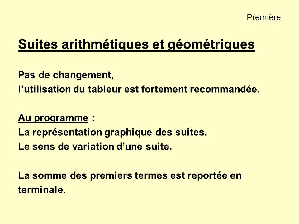 Suites arithmétiques et géométriques