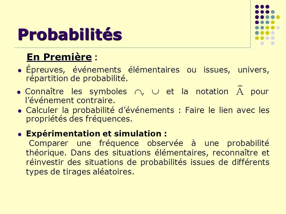 Probabilités En Première :