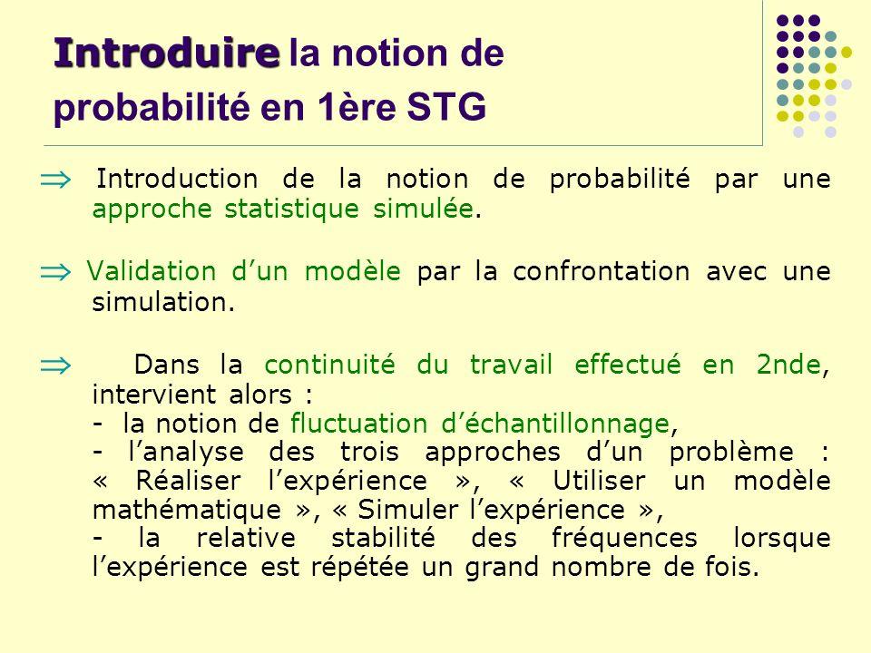 Introduire la notion de probabilité en 1ère STG