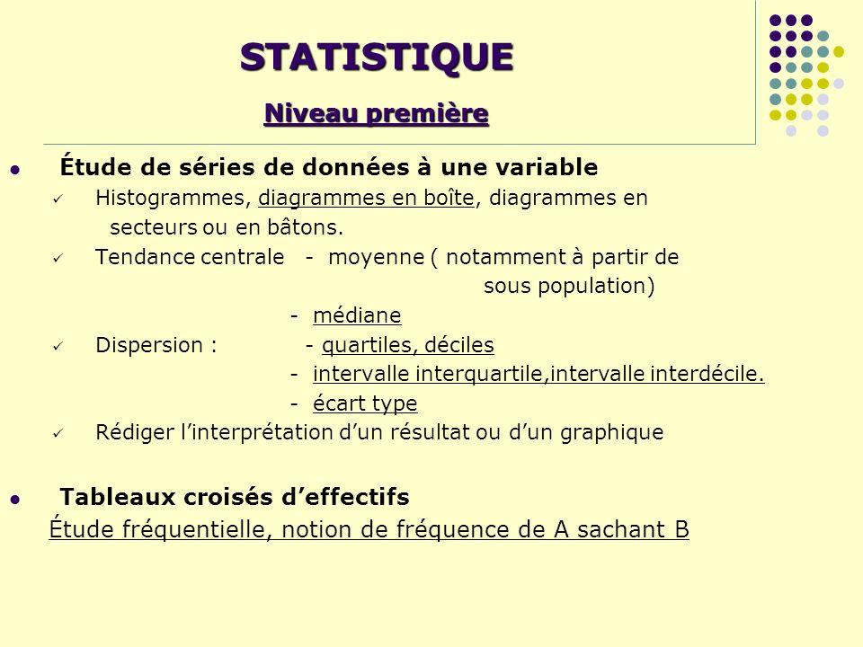 STATISTIQUE Niveau première