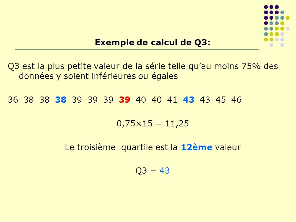 Le troisième quartile est la 12ème valeur