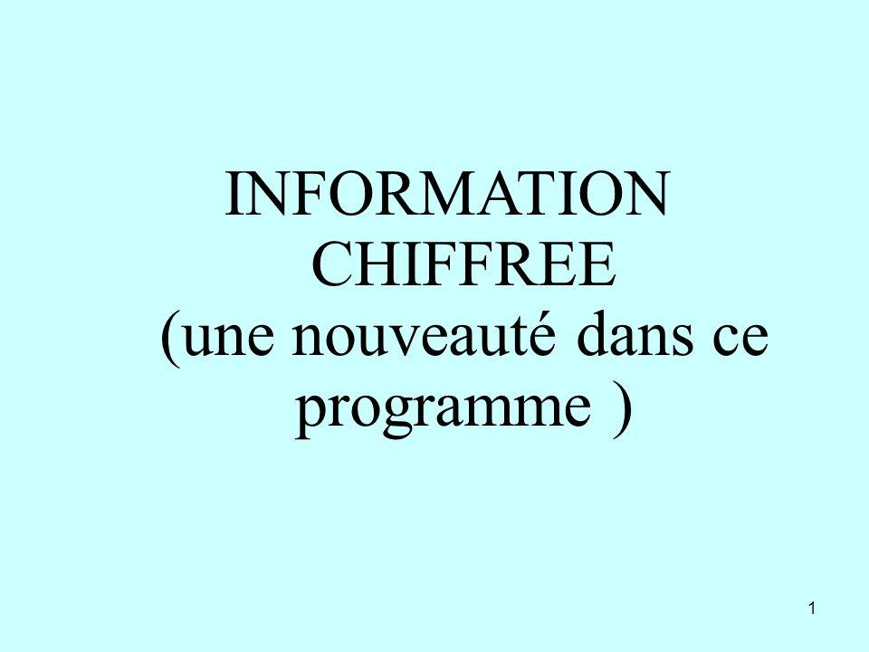 INFORMATION CHIFFREE (une nouveauté dans ce programme )