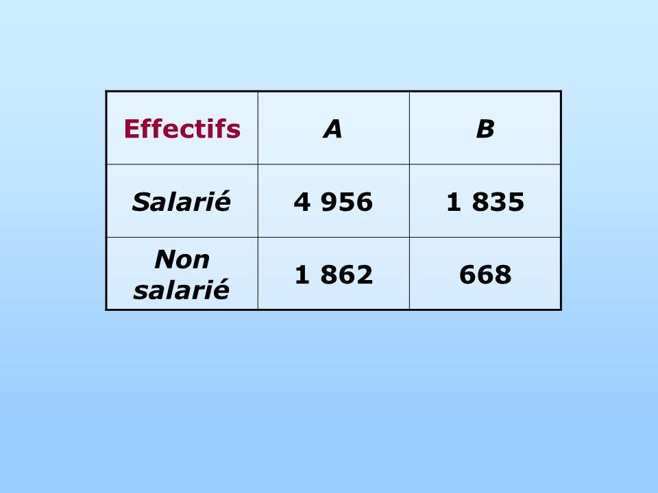 Effectifs A B Salarié 4 956 1 835 Non salarié 1 862 668