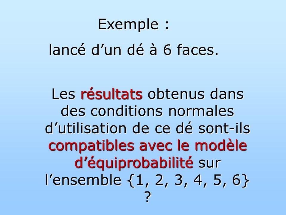 Exemple : lancé d'un dé à 6 faces.