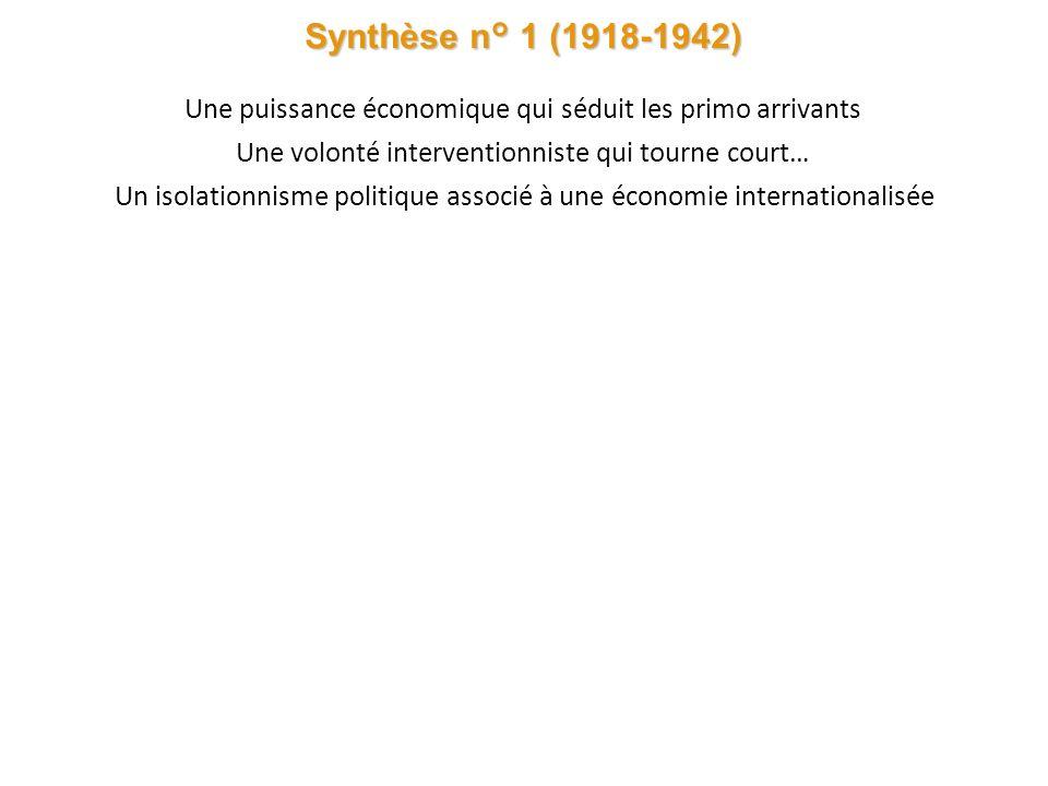 Synthèse n° 1 (1918-1942) Une puissance économique qui séduit les primo arrivants. Une volonté interventionniste qui tourne court…