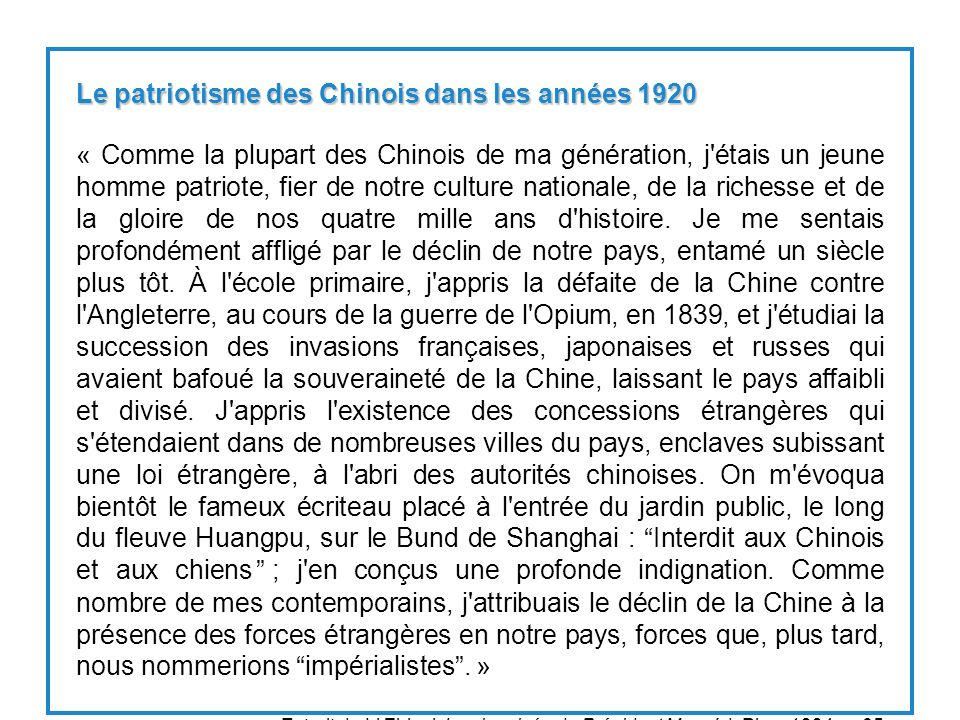 Le patriotisme des Chinois dans les années 1920