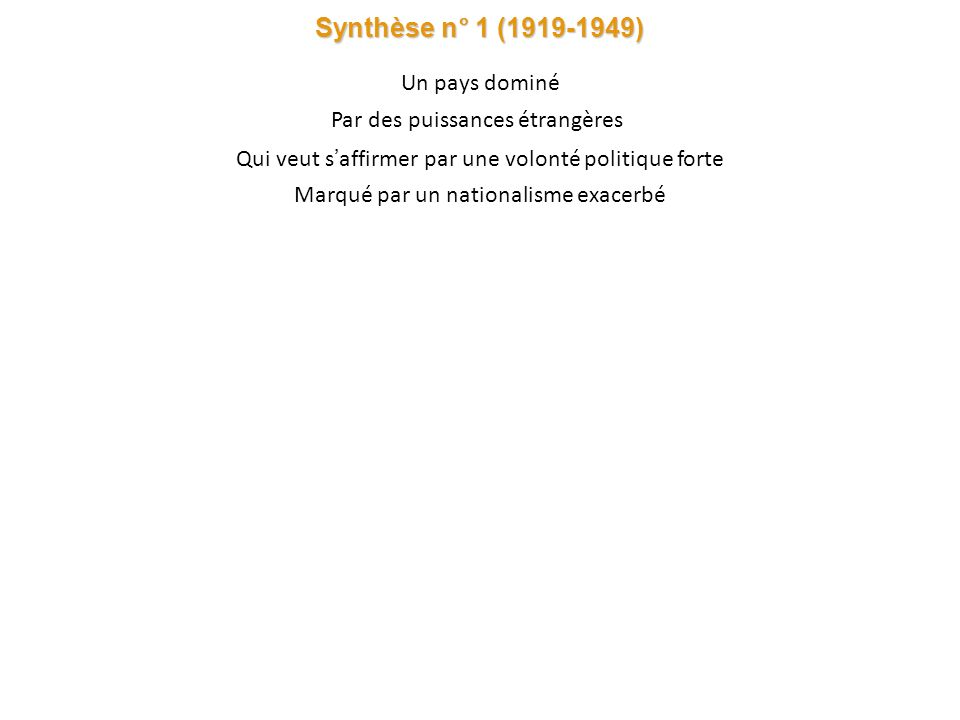 Synthèse n° 1 (1919-1949) Un pays dominé Par des puissances étrangères