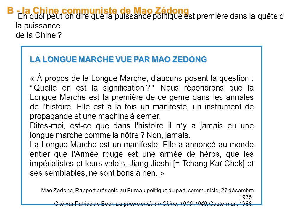B - la Chine communiste de Mao Zédong