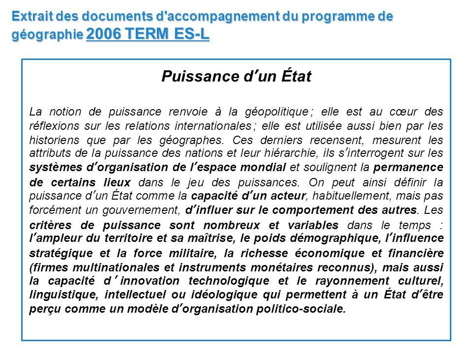 Extrait des documents d accompagnement du programme de géographie 2006 TERM ES-L