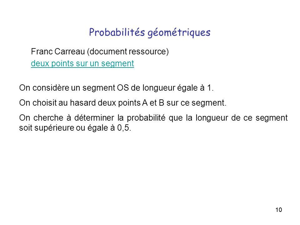 Probabilités géométriques