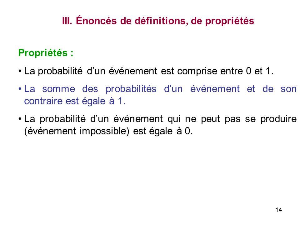 III. Énoncés de définitions, de propriétés