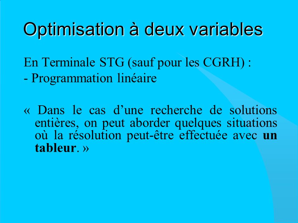 Optimisation à deux variables