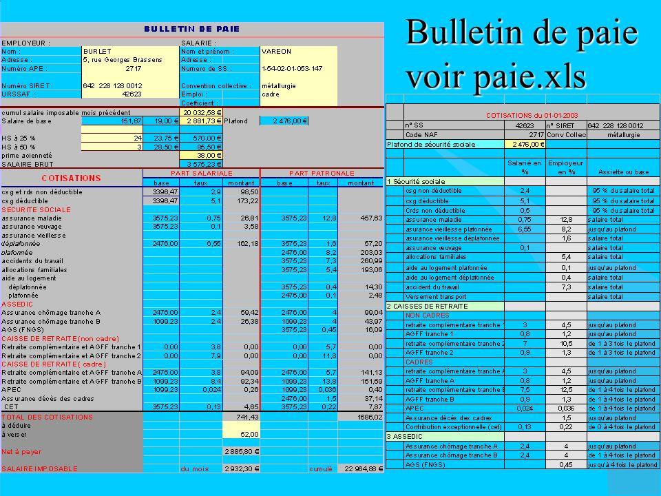 Bulletin de paie voir paie.xls