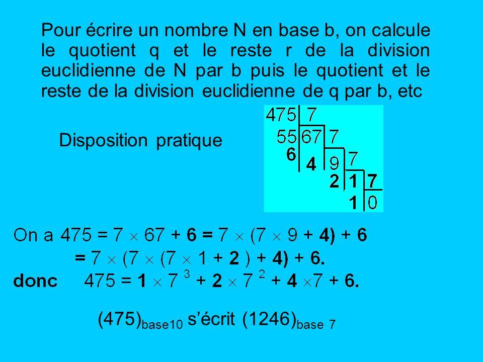 Pour écrire un nombre N en base b, on calcule le quotient q et le reste r de la division euclidienne de N par b puis le quotient et le reste de la division euclidienne de q par b, etc