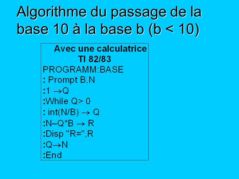 Algorithme du passage de la base 10 à la base b (b < 10)
