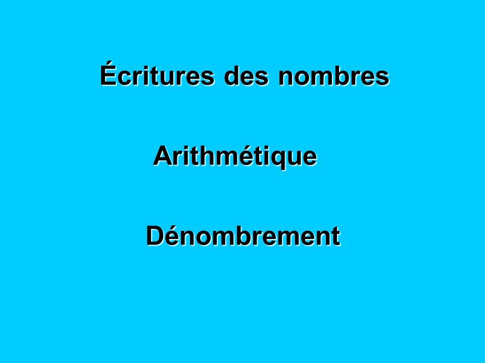 Écritures des nombres Arithmétique Dénombrement