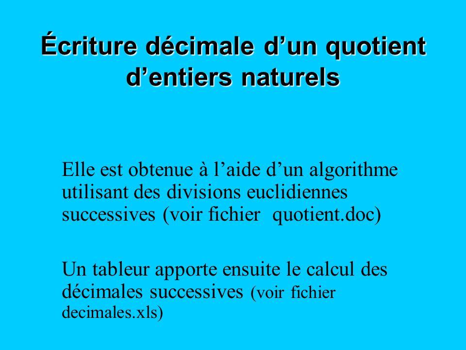 Écriture décimale d'un quotient d'entiers naturels