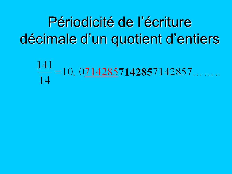 Périodicité de l'écriture décimale d'un quotient d'entiers