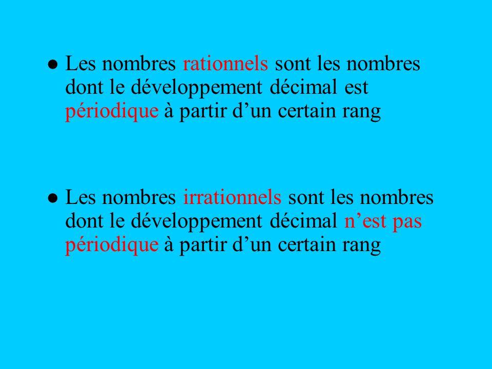 Les nombres rationnels sont les nombres dont le développement décimal est périodique à partir d'un certain rang