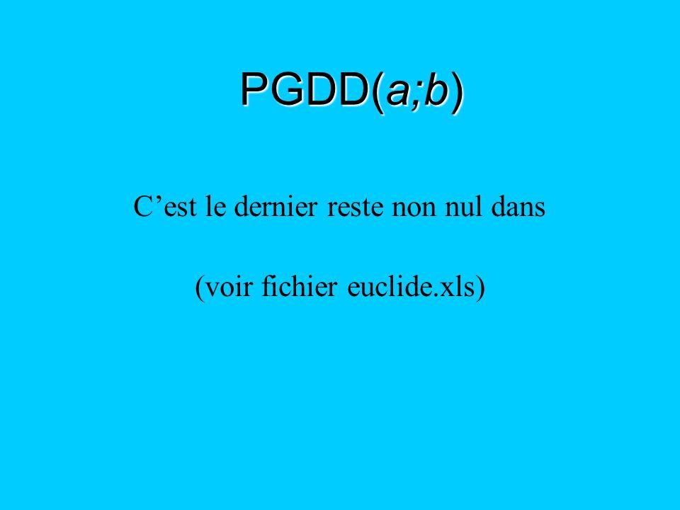PGDD(a;b) C'est le dernier reste non nul dans