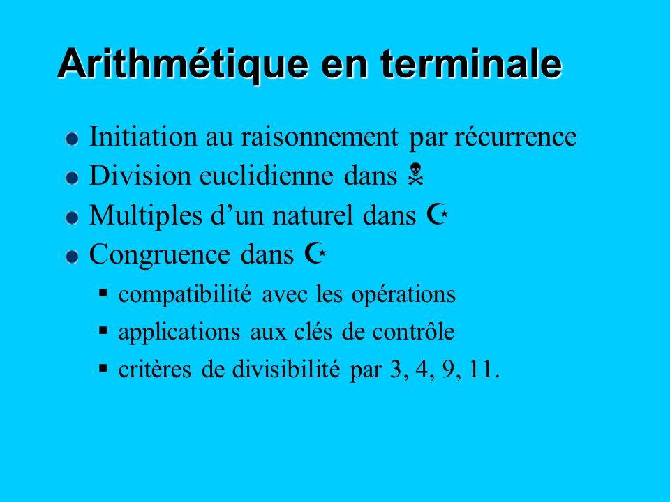 Arithmétique en terminale