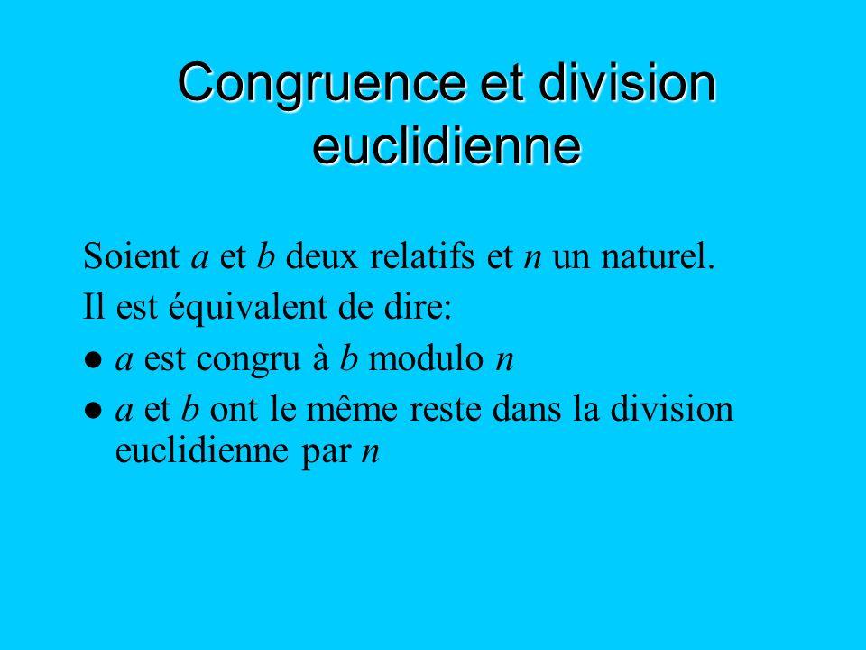 Congruence et division euclidienne