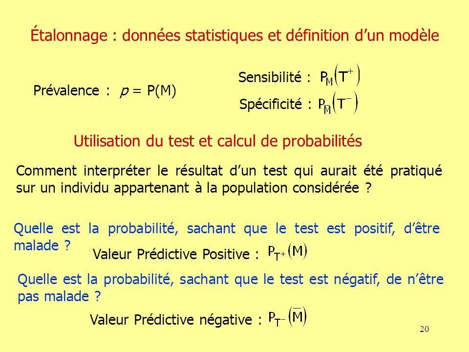 Étalonnage : données statistiques et définition d'un modèle