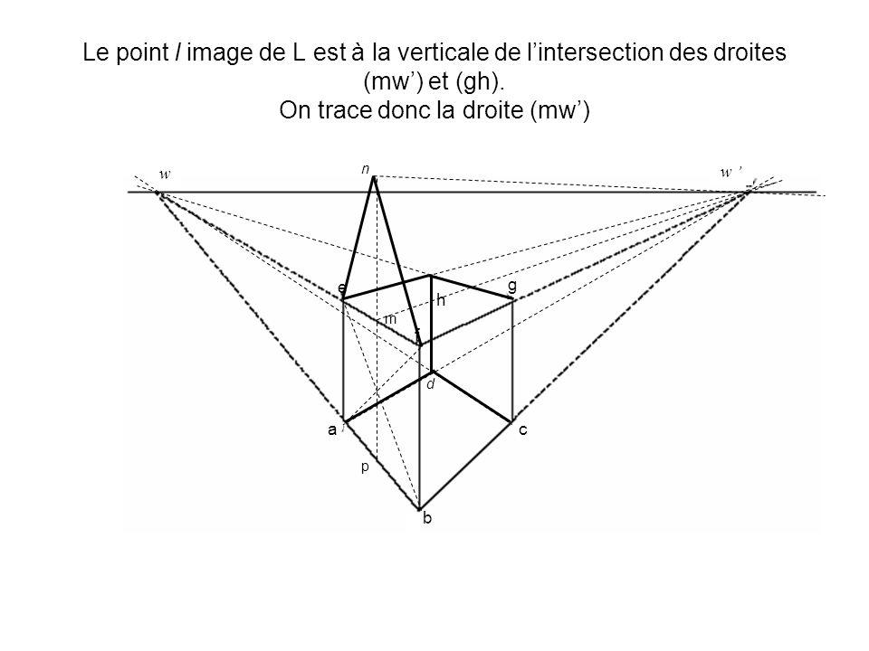 Le point l image de L est à la verticale de l'intersection des droites (mw') et (gh). On trace donc la droite (mw')