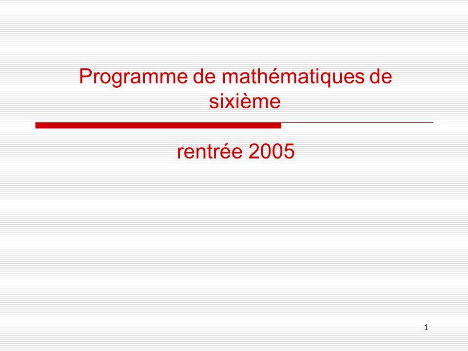 Programme de mathématiques de sixième