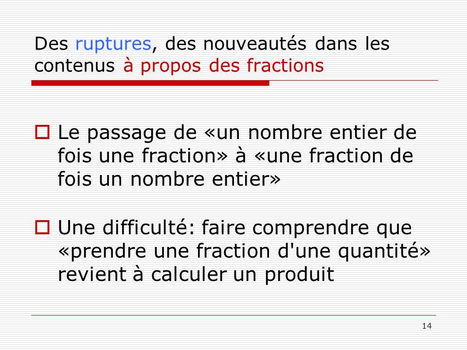 Des ruptures, des nouveautés dans les contenus à propos des fractions