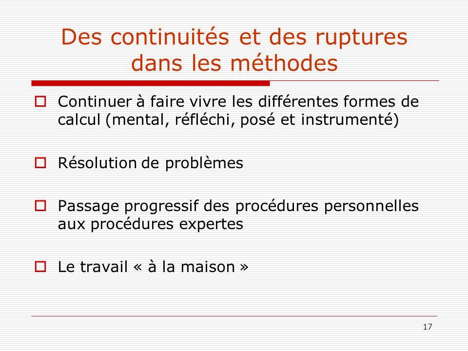 Des continuités et des ruptures dans les méthodes
