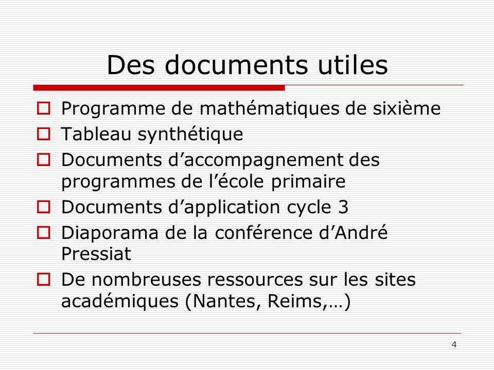 Des documents utiles Programme de mathématiques de sixième