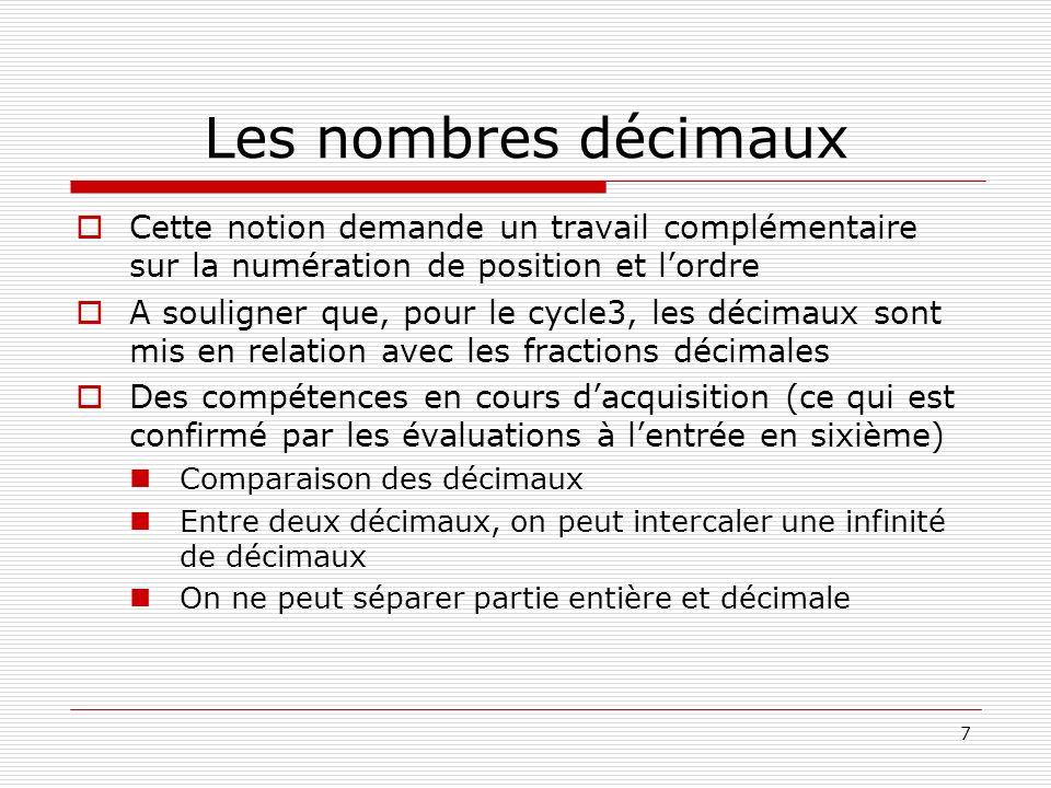 Les nombres décimaux Cette notion demande un travail complémentaire sur la numération de position et l'ordre.
