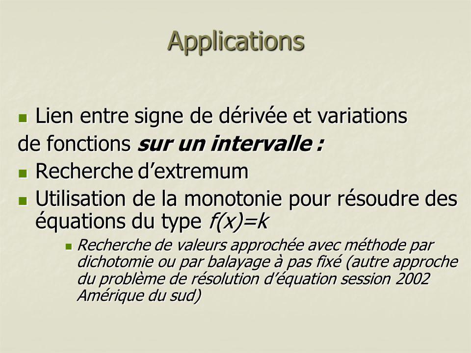 Applications Lien entre signe de dérivée et variations