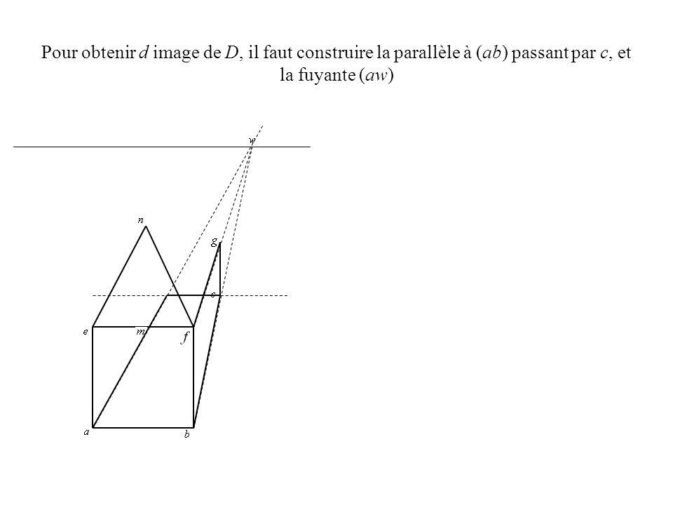 Pour obtenir d image de D, il faut construire la parallèle à (ab) passant par c, et la fuyante (aw)
