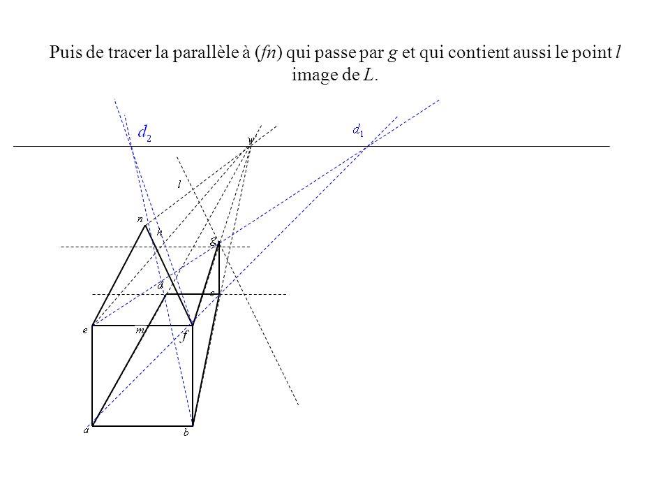 Puis de tracer la parallèle à (fn) qui passe par g et qui contient aussi le point l image de L.