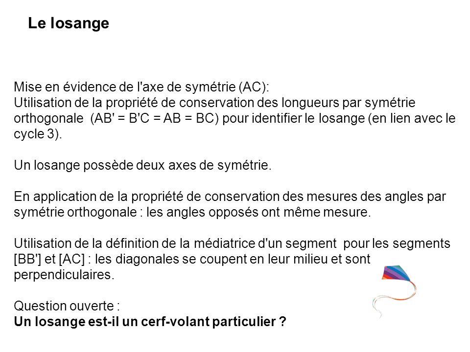 Le losange Mise en évidence de l axe de symétrie (AC):